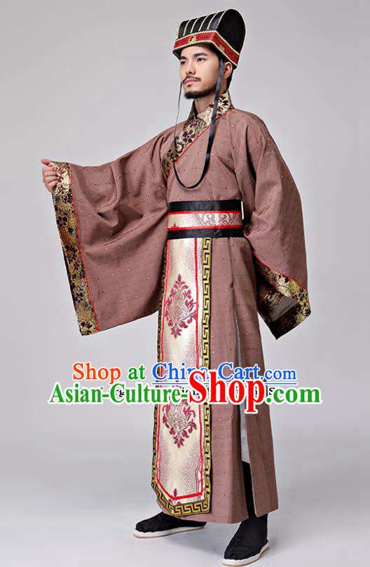 Traditional Chinese Ancient Drama Chancellor Clothing Three Kingdoms Period Minister Costumes for Men