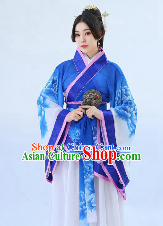 Traditional Chinese Han Dynasty Palace Musician Blue Hanfu Dress Ancient Drama Princess Costumes for Women