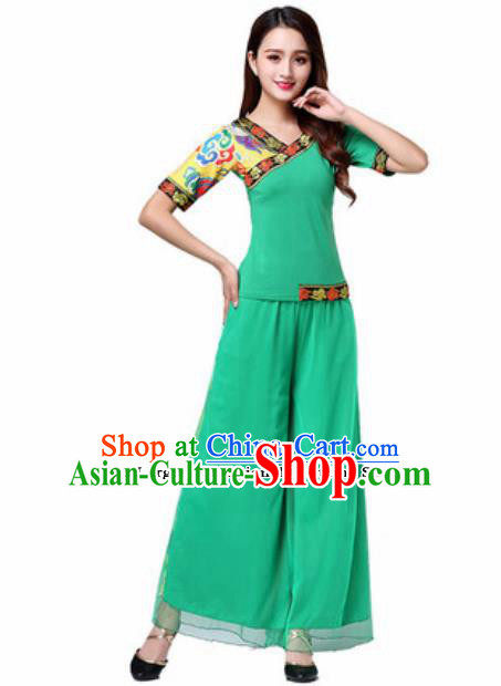 Traditional Chinese Folk Dance Yangko Green Costumes Group Dance Fan Dance Clothing for Women