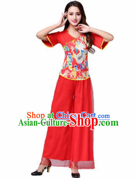 Traditional Chinese Folk Dance Yangko Red Costumes Fan Dance Group Dance Clothing for Women