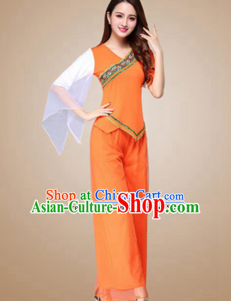 Traditional Chinese Folk Dance Yangko Costumes Fan Dance Group Dance Orange Clothing for Women