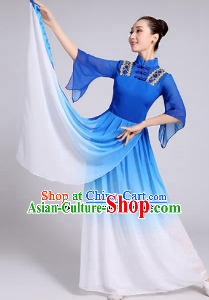 Traditional Chinese Classical Dance Costumes Lotus Dance Umbrella Dance Royalblue Dress for Women