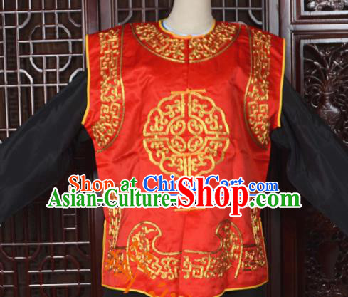 Top Grade Chinese Beijing Opera Costumes Peking Opera Takefu Red Vest for Adults