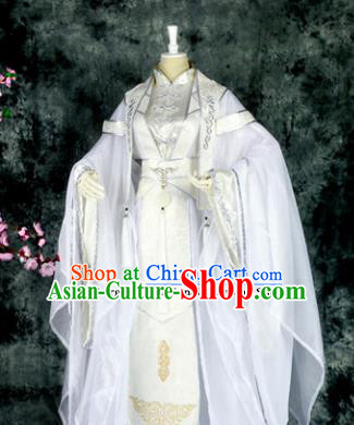 Traditional Chinese Cosplay Royal Highness White Costumes Ancient Swordsman Hanfu Clothing for Men