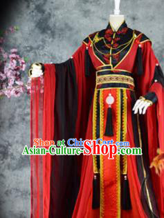 Traditional Chinese Cosplay Royal Highness Red Costumes Ancient Swordsman Hanfu Clothing for Men