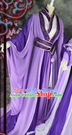Traditional Chinese Cosplay Childe Purple Costumes Ancient Swordsman Hanfu Clothing for Men