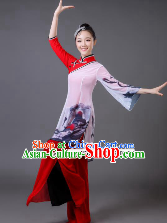 Traditional Chinese Classical Dance Red Costumes Umbrella Dance Yangko Clothing for Women