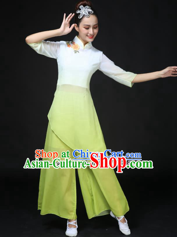 Traditional Chinese Classical Dance Green Costumes Fan Dance Umbrella Dance Clothing for Women