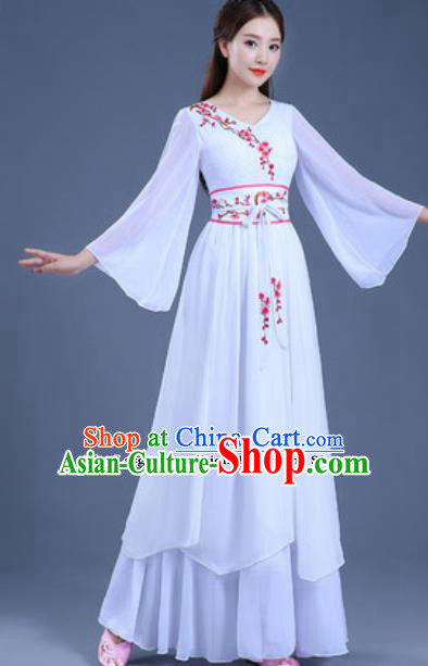 Traditional Chinese Classical Dance Group Dance White Dress Umbrella Dance Clothing for Women