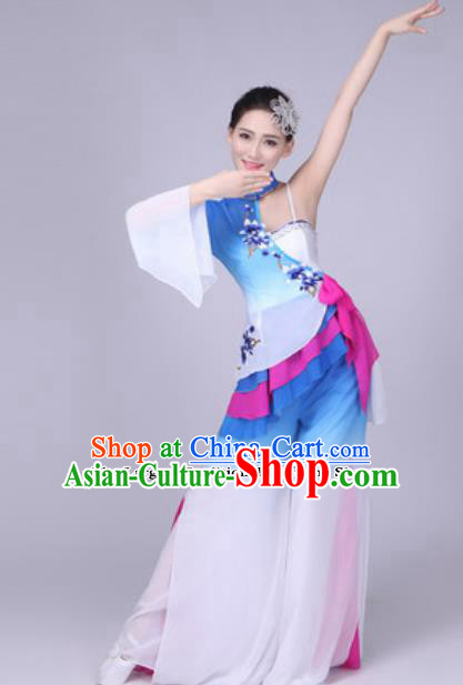 Traditional Chinese Group Dance Folk Dance Blue Dress Classical Dance Clothing for Women