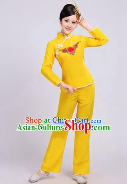 Traditional Chinese Folk Dance Fan Dance Costumes Yanko Dance Group Dance Yellow Clothing for Women