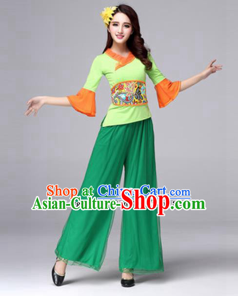 Traditional Chinese Folk Dance Yangko Costumes Fan Dance Clothing for Women