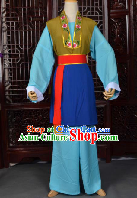 Traditional Chinese Beijing Opera Pantaloon Blue Costumes Ancient Old Women Clothing for Adults