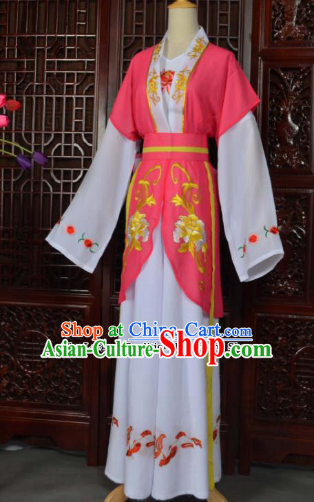 Traditional Chinese Beijing Opera Young Lady Costumes Ancient Maidservants Pink Dress for Adults