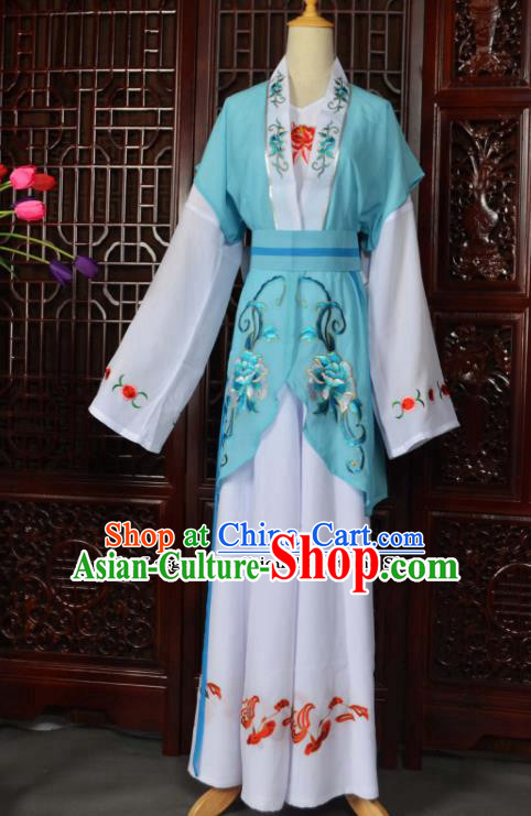 Traditional Chinese Beijing Opera Young Lady Costumes Ancient Maidservants Blue Dress for Adults