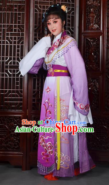 Traditional Chinese Beijing Opera Diva Costumes Ancient Imperial Consort Embroidered Purple Dress for Adults