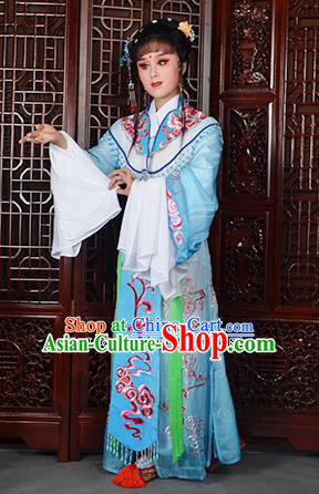 Traditional Chinese Beijing Opera Diva Costumes Ancient Imperial Consort Embroidered Light Blue Dress for Adults