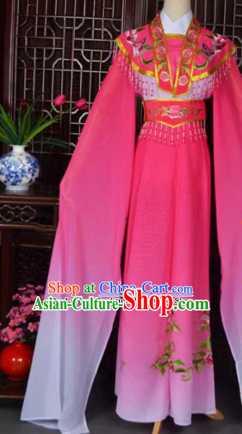 Traditional Chinese Beijing Opera Actress Costumes Ancient Princess Embroidered Rosy Dress for Adults