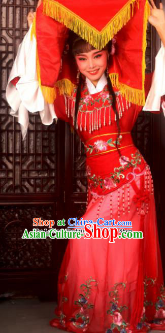 Traditional Chinese Peking Opera Costumes Ancient Peri Princess Red Dress for Adults