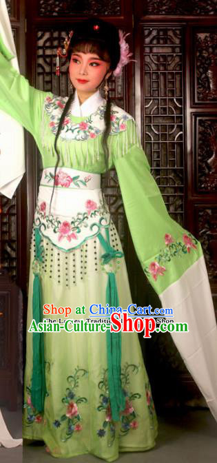 Traditional Chinese Peking Opera Costumes Ancient Peri Princess Green Dress for Adults