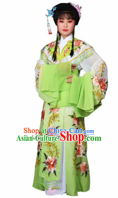 Traditional Chinese Peking Opera Palace Lady Costumes Ancient Imperial Consort Green Dress for Adults
