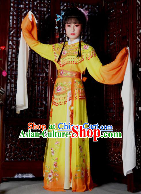 Traditional Chinese Peking Opera Palace Princess Costumes Ancient Peri Orange Dress for Adults