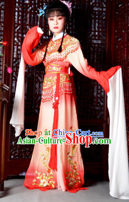Traditional Chinese Peking Opera Palace Princess Costumes Ancient Peri Red Dress for Adults