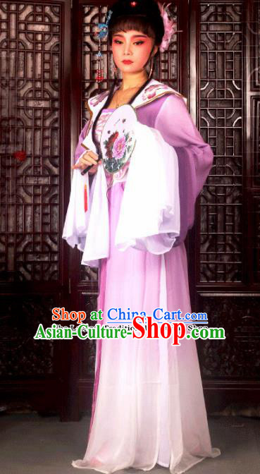 Traditional Chinese Peking Opera Princess Embroidered Costumes Ancient Peri Purple Dress for Adults
