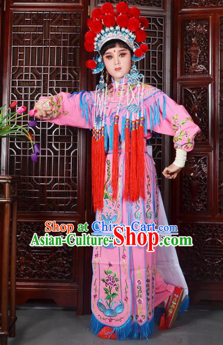 Traditional Chinese Peking Opera Blues Costumes Ancient Female General Pink Dress and Hat for Adults