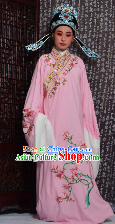 Professional Chinese Peking Opera Niche Costumes Embroidered Magnolia Pink Robe for Adults