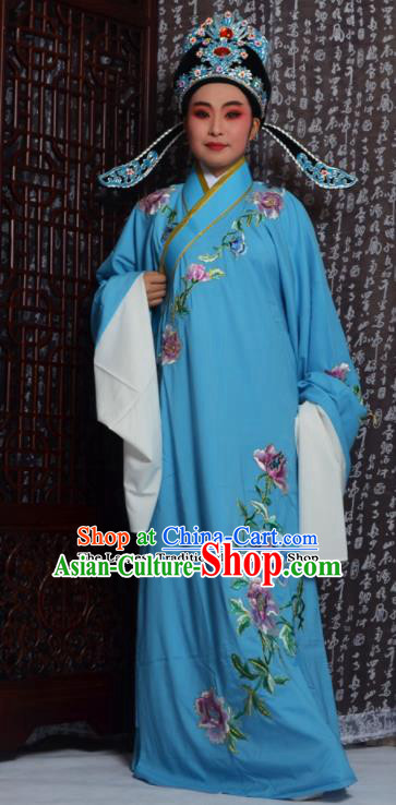Professional Chinese Peking Opera Niche Costumes Embroidered Peony Blue Robe for Adults