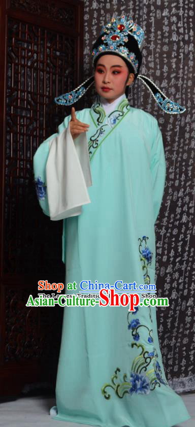 Professional Chinese Peking Opera Niche Costumes Embroidered Green Robe for Adults