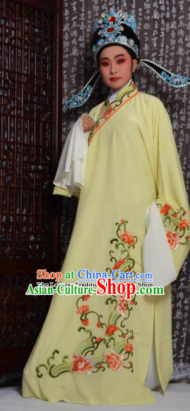 Professional Chinese Peking Opera Niche Costumes Embroidered Yellow Robe for Adults