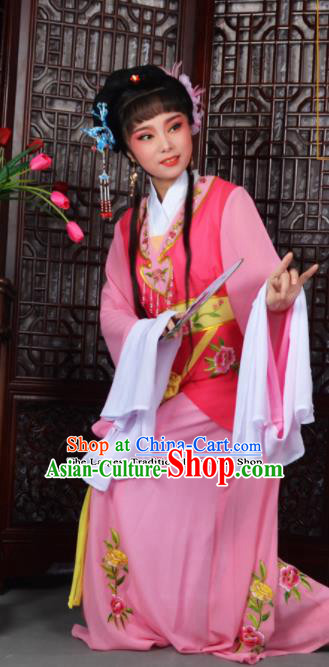 Traditional Chinese Peking Opera Young Lady Costumes Ancient Maidservants Pink Dress for Adults