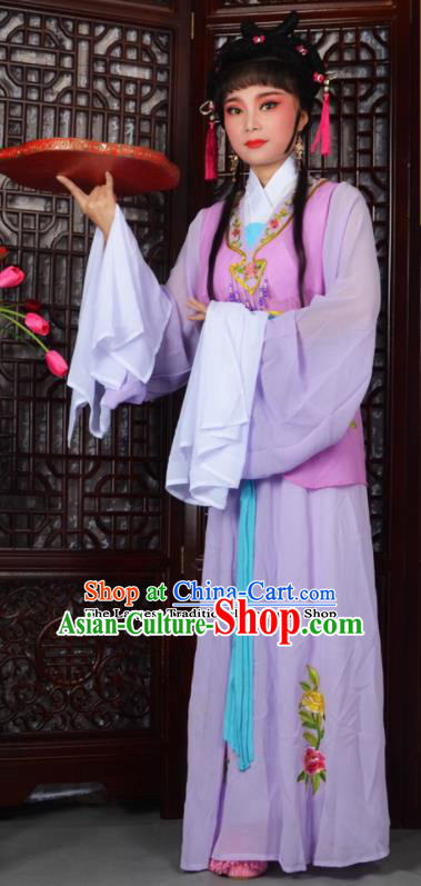 Traditional Chinese Peking Opera Young Lady Costumes Ancient Maidservants Purple Dress for Adults