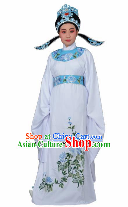 Professional Chinese Peking Opera Niche Costumes Ancient Gifted Scholar Embroidered Chrysanthemum White Robe for Adults