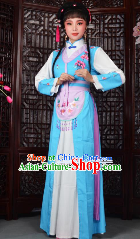 Chinese Ancient Maidservants Embroidered Blue Dress Traditional Peking Opera Actress Costumes for Adults