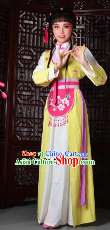 Chinese Ancient Maidservants Embroidered Yellow Dress Traditional Peking Opera Actress Costumes for Adults