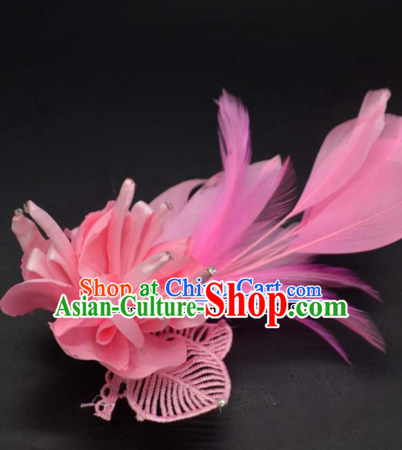 Traditional Chinese Peking Opera Diva Hair Accessories Ancient Princess Pink Feather Hair Stick Headwear for Women