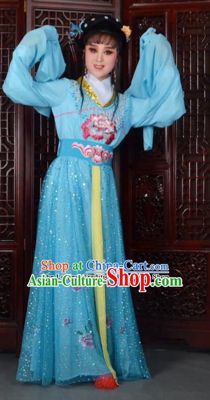 Chinese Ancient Peri Princess Embroidered Blue Dress Traditional Peking Opera Actress Costumes for Adults