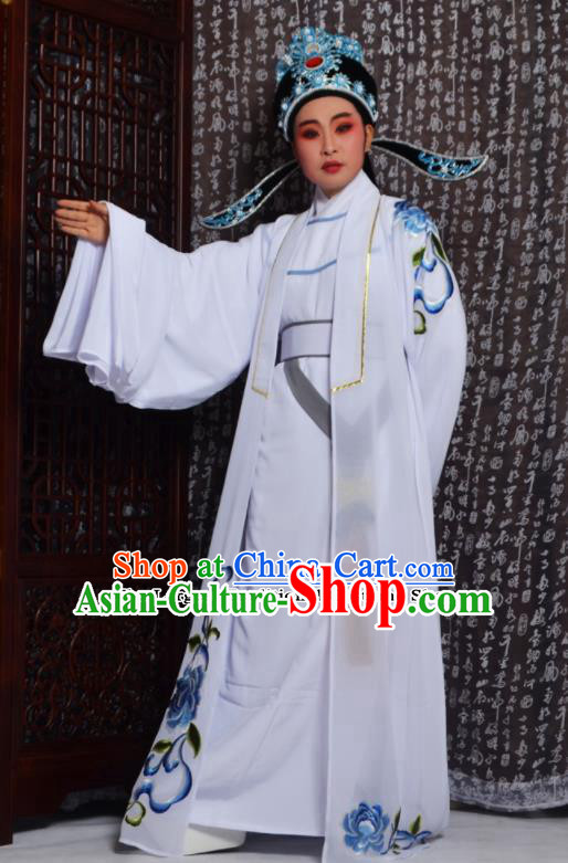 Professional Chinese Peking Opera Niche Costumes Embroidered White Clothing for Adults