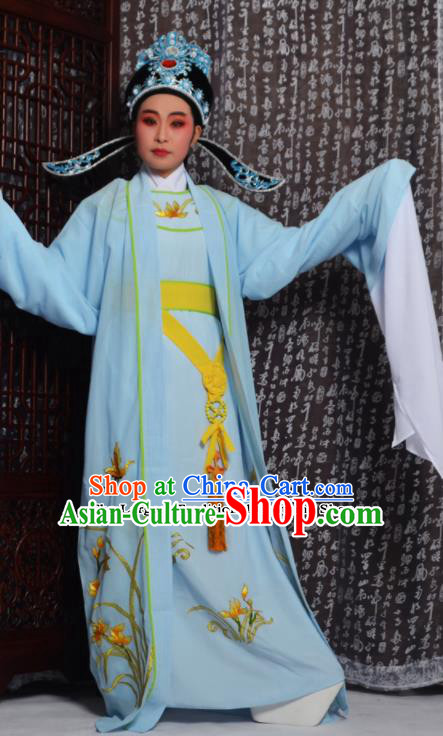 Professional Chinese Peking Opera Niche Costumes Embroidered Orchid Blue Clothing for Adults