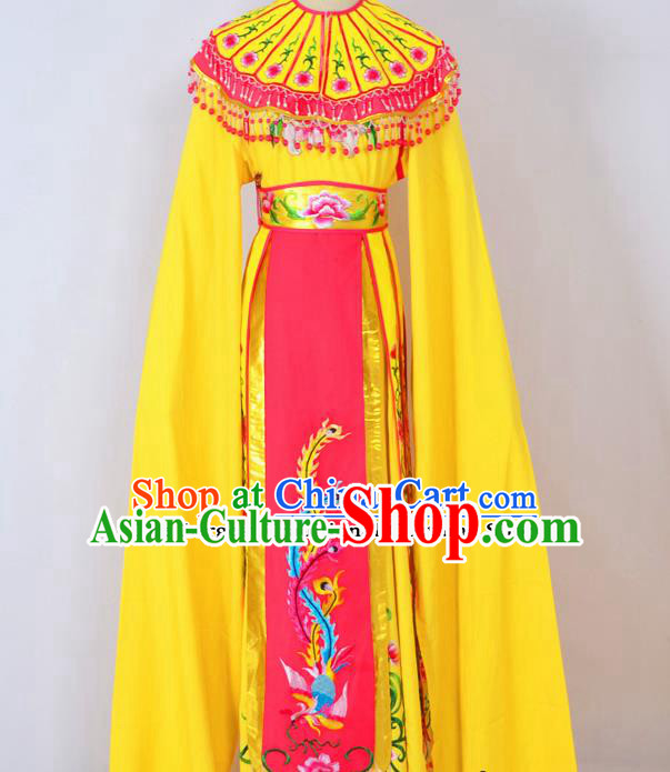 Chinese Ancient Palace Princess Embroidered Yellow Dress Traditional Peking Opera Actress Costumes for Adults