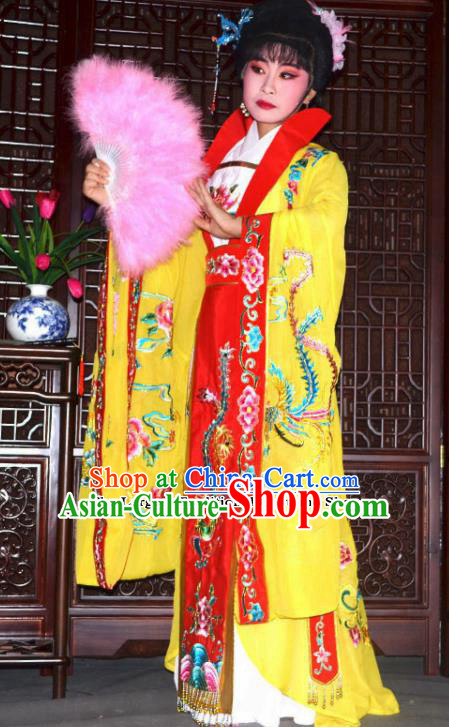 Traditional Chinese Peking Opera Empress Embroidered Yellow Costumes Ancient Queen Dress for Adults