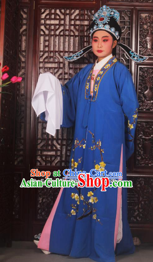 Top Grade Chinese Beijing Opera Costumes Peking Opera Niche Embroidered Blue Robe for Adults