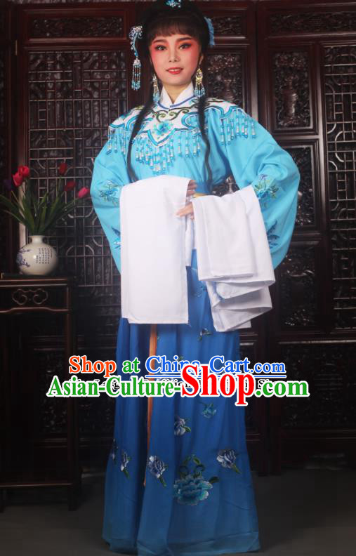Traditional Chinese Peking Opera Diva Costumes Ancient Palace Princess Blue Embroidered Dress for Adults