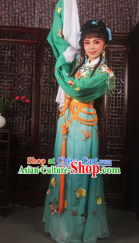 Traditional Chinese Peking Opera Diva Costumes Ancient Palace Princess Green Embroidered Dress for Adults