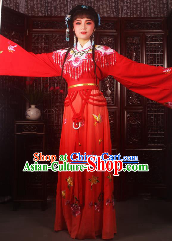 Traditional Chinese Peking Opera Diva Costumes Ancient Palace Princess Red Embroidered Dress for Adults