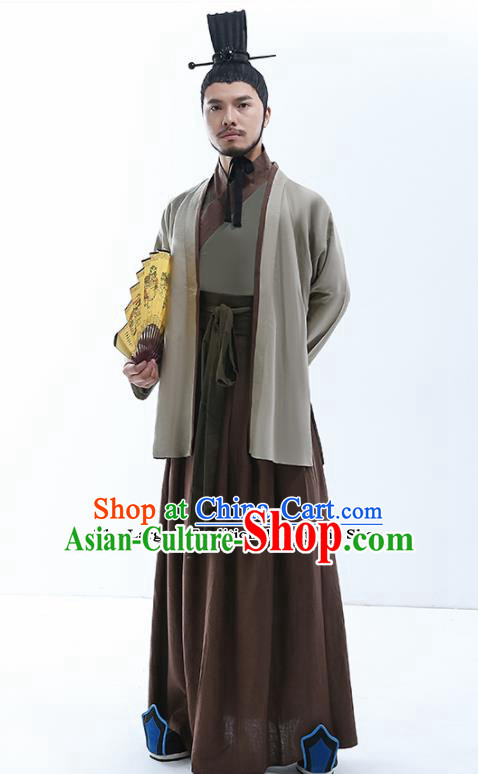 Chinese Traditional Warring States Period Prime Minister Costumes Ancient Drama Swordsman Clothing for Men