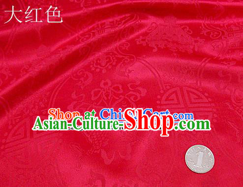 Traditional Chinese Royal Palace Double Fishes Pattern Design Red Brocade Fabric Silk Fabric Chinese Fabric Asian Material